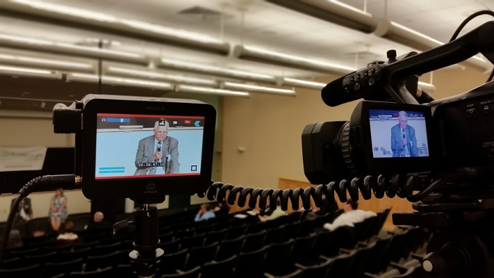 Filming a presentation for The Venture Forum at WPI