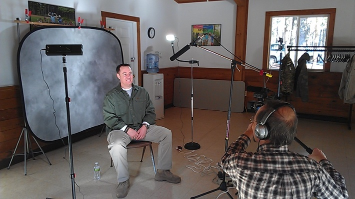 Executive Producer, Peter Stassa, filming an interview to use in a marketing video for the YMCA's HighFlight program