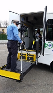 Executive Producer, Peter Stassa, filming a training video for The MetroWest Regional Transit Authority