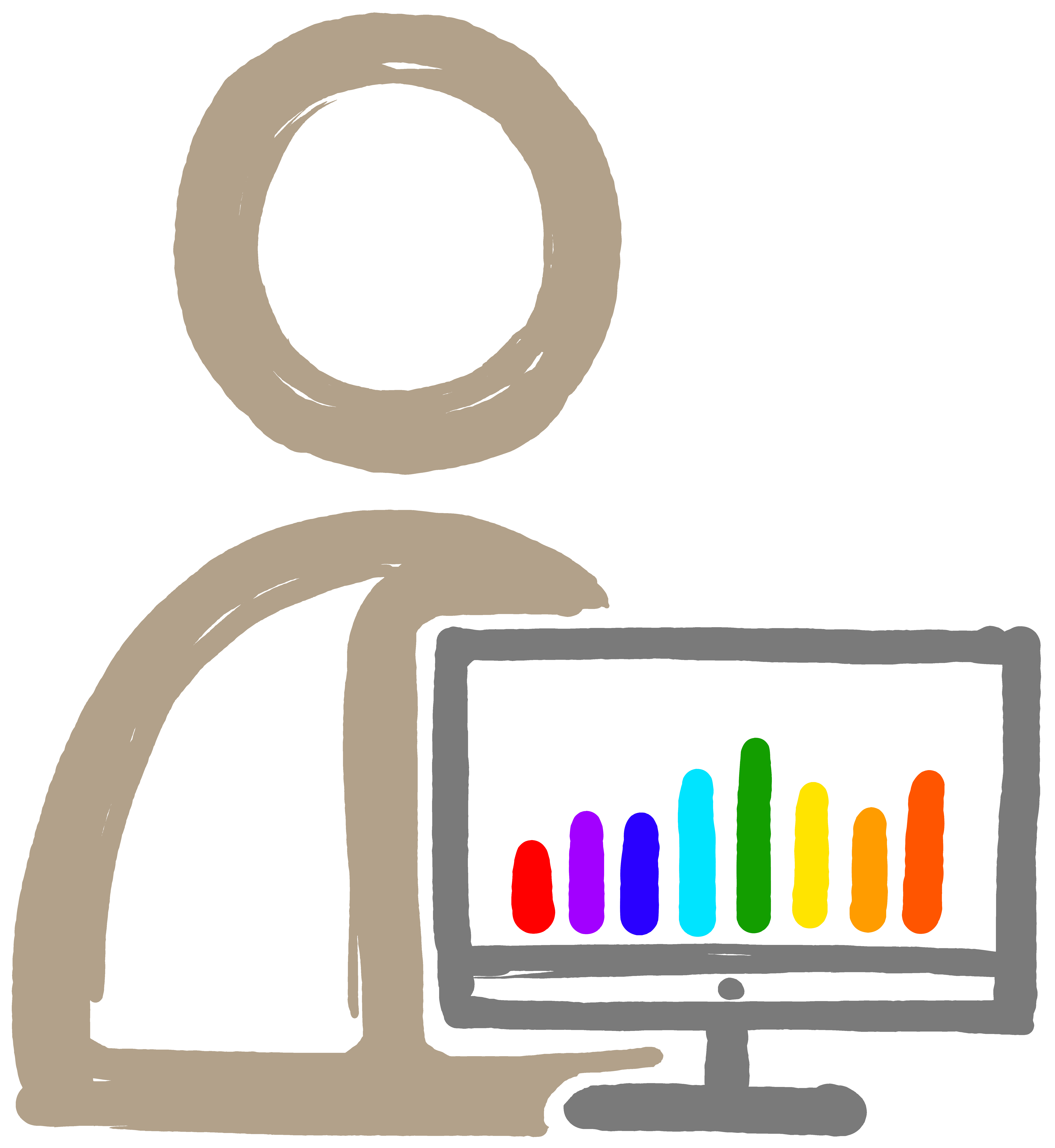 Video production services stick figure next to computer with multicolor bar chart