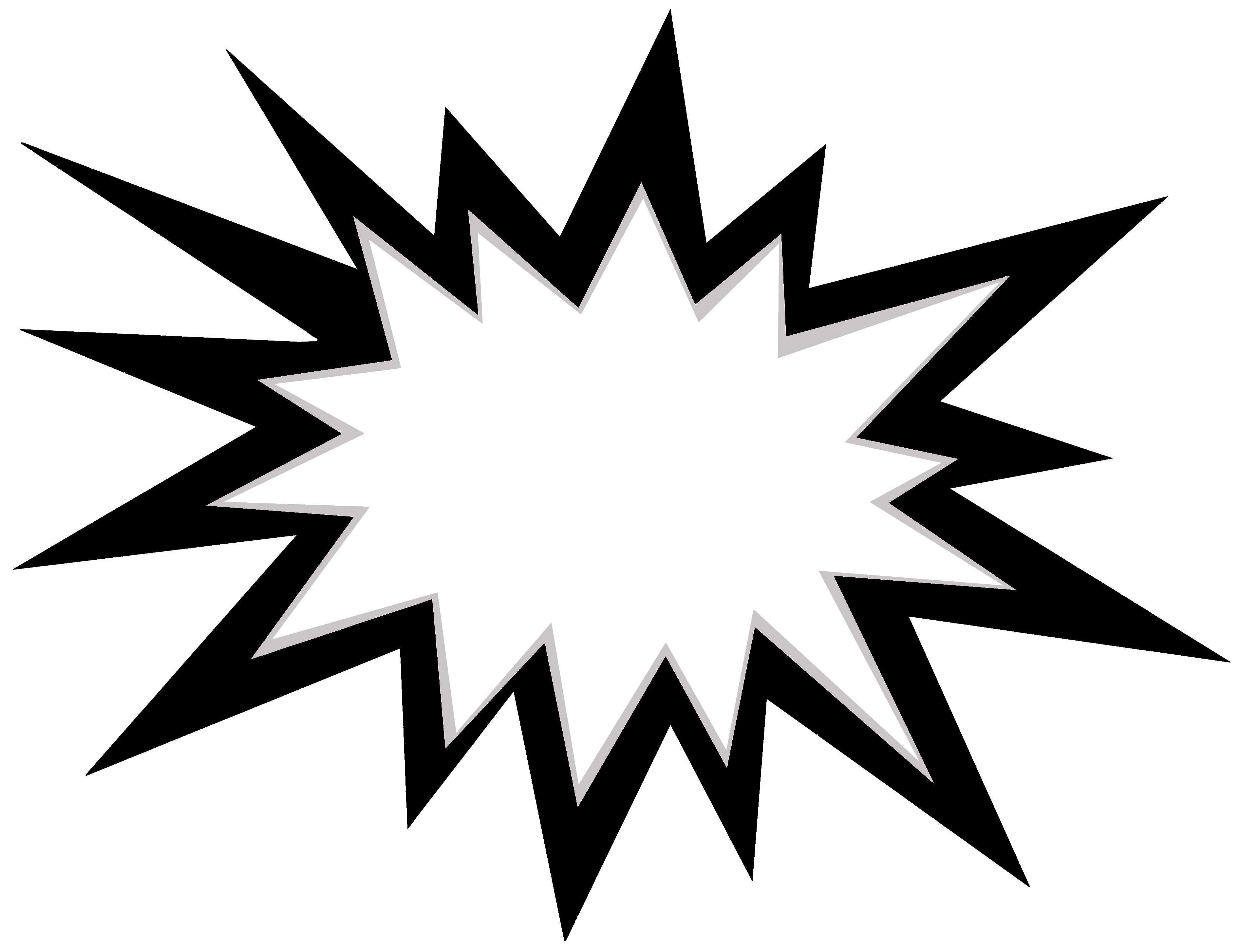 Black and white explosion icon