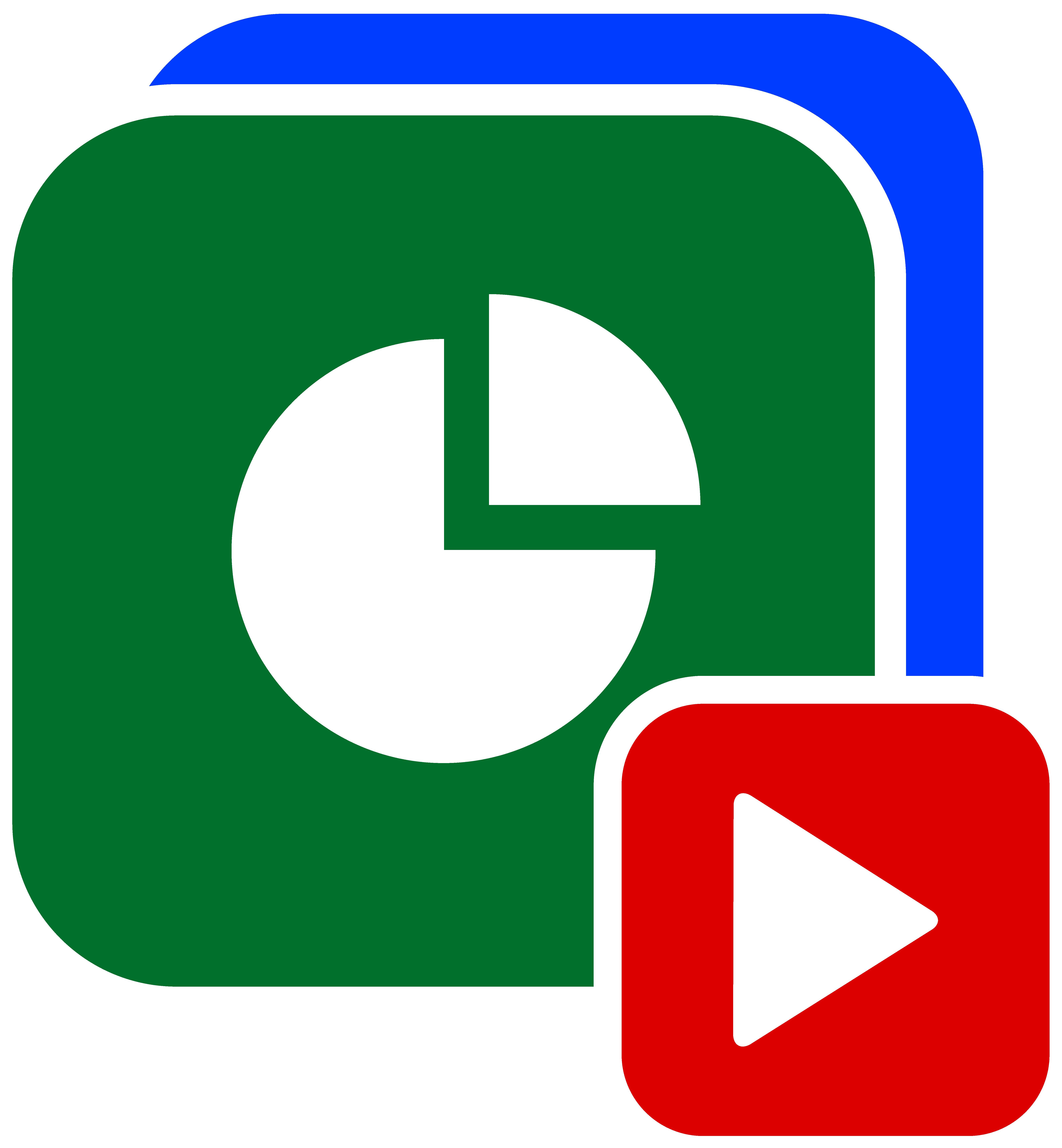 Video production services green, red, and blue presentation icon