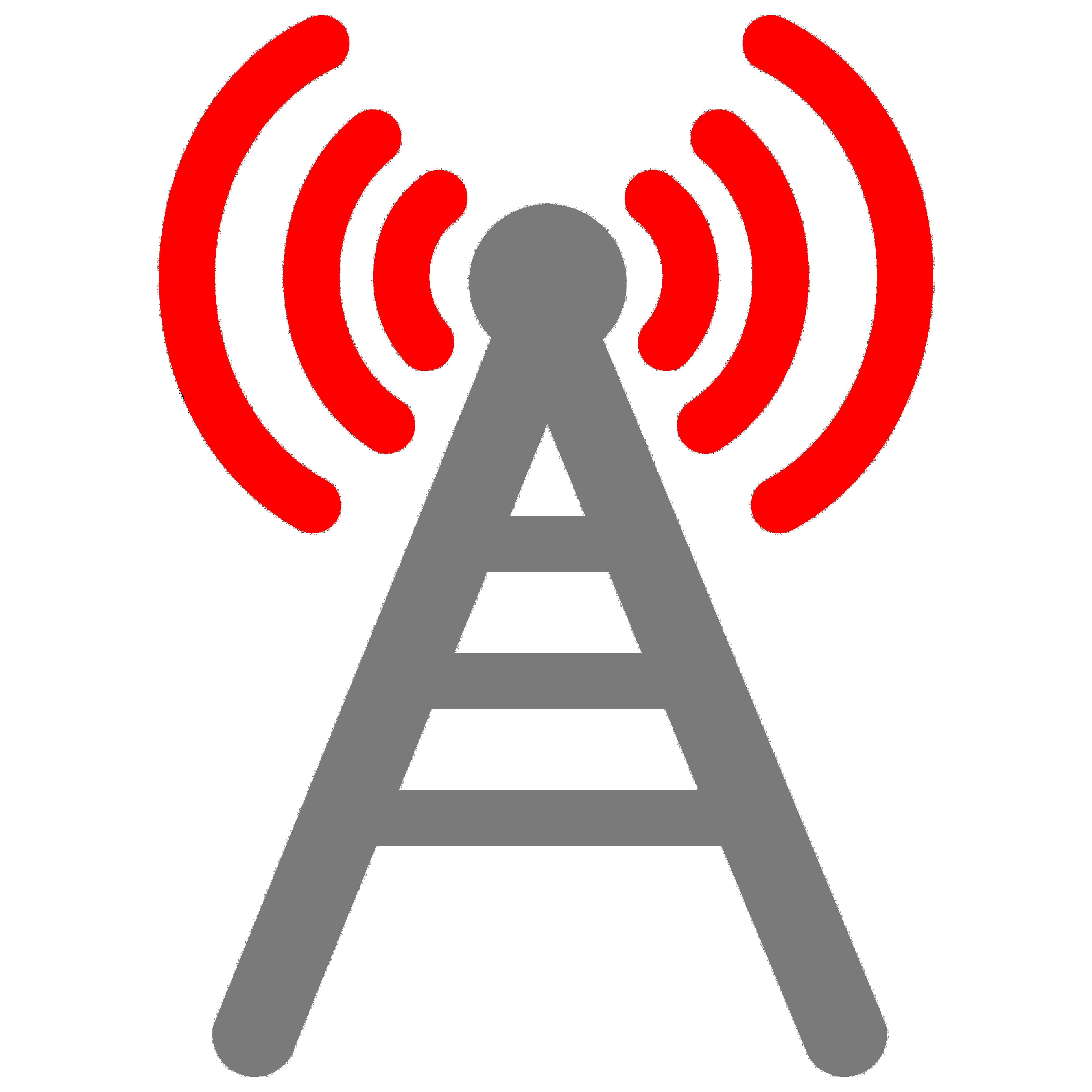 Gray and red cell/radio tower icon
