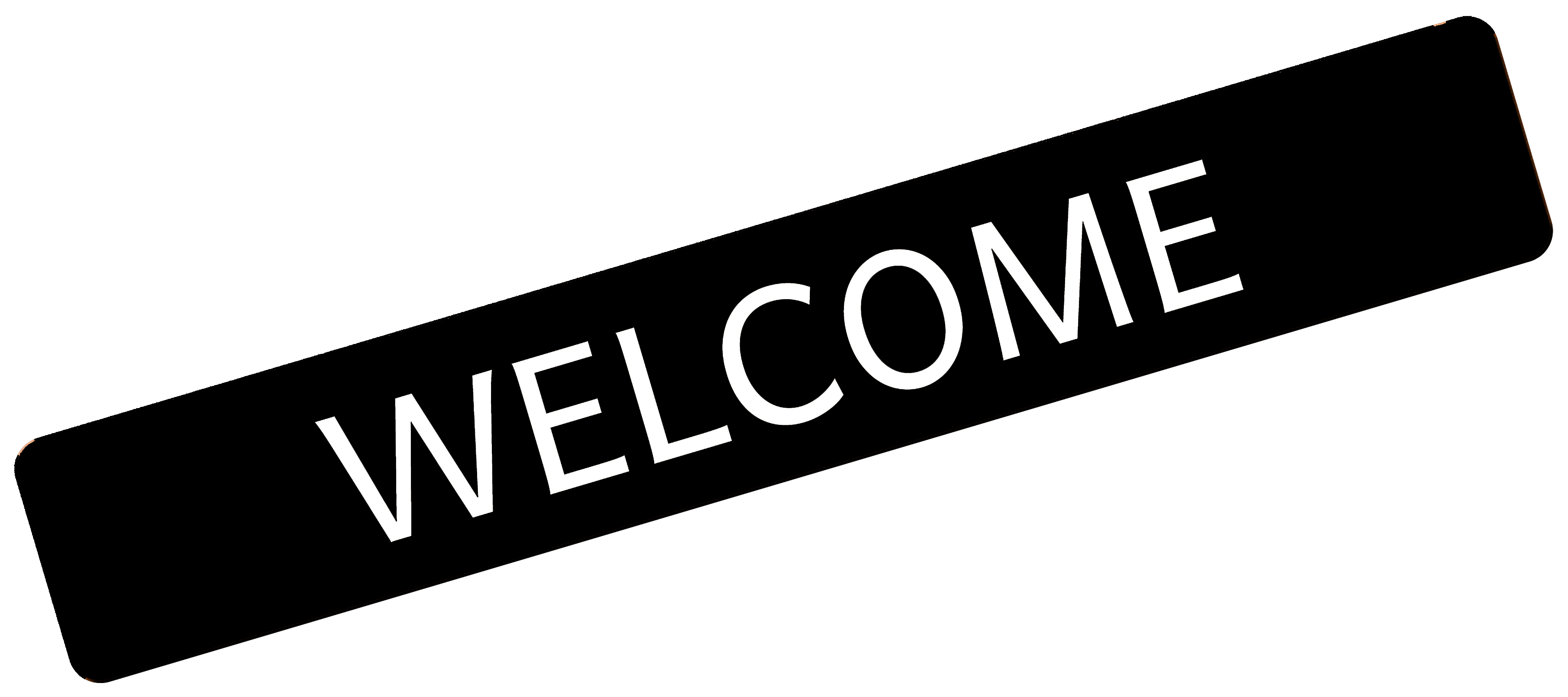 Black and white welcome sign icon