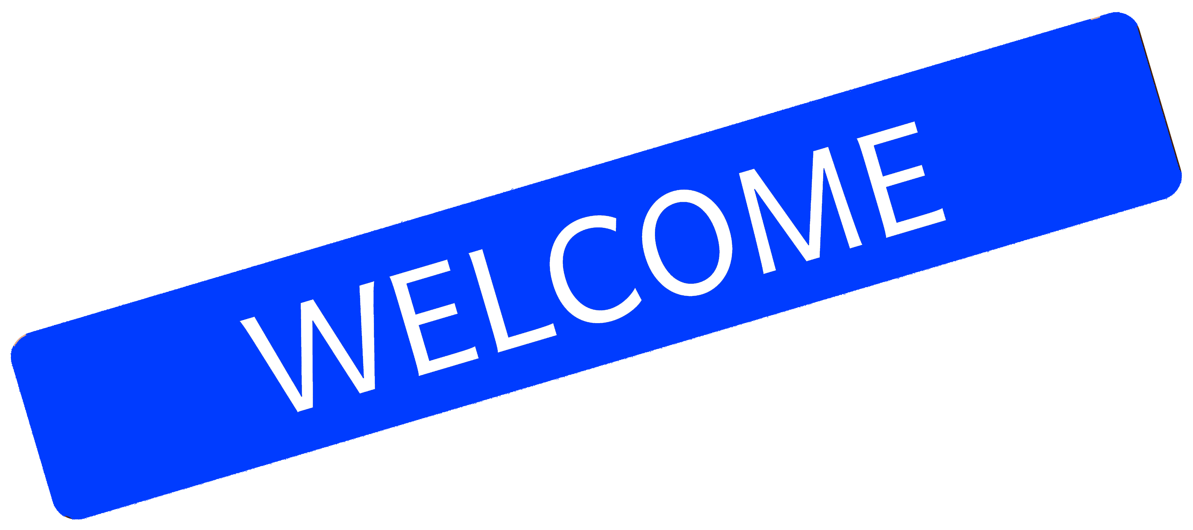 Blue welcome sign icon