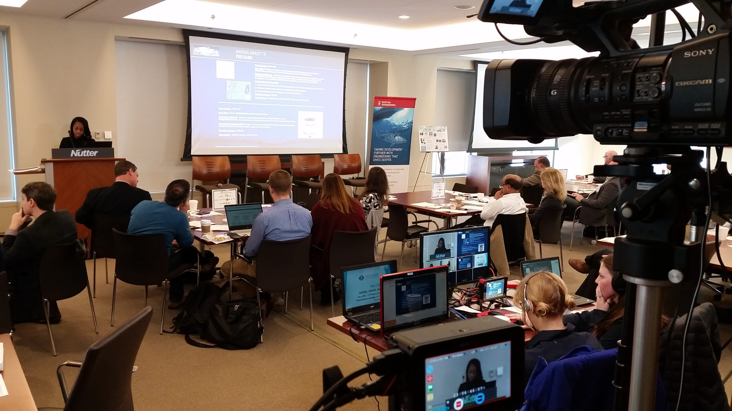 Recording and live streaming presentations at the New England Business NAVAIR NAVSEA SBIR STTR Topics Workshop